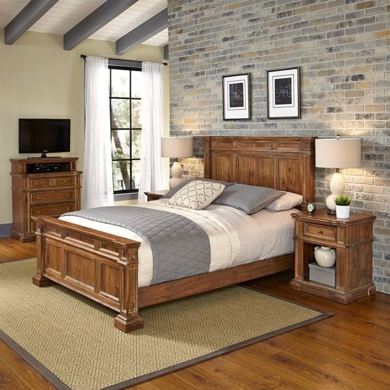Americana Distressed Natural Acacia Vintage King Bed, Two Night Stands, and Media Chest by Home Styles
