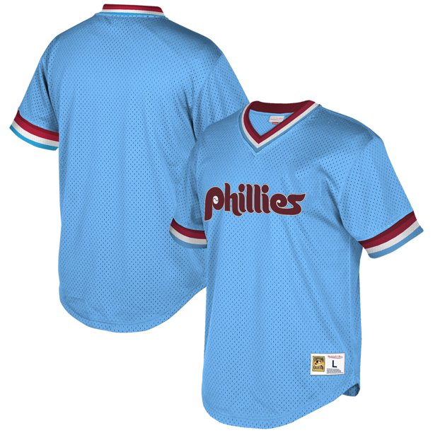 Philadelphia Phillies Mitchell & Ness Cooperstown Collection Mesh Wordmark V-Neck Jersey - Light Blue