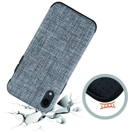 iPhone XR Case by Insten Non-Slip Fabric Hard Plastic/Soft TPU Rubber Case Cover For Apple iPhone XR, Gray - image 2 of 2