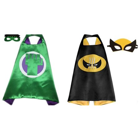Hulk & Wolverine Costumes - 2 Capes, 2 Masks with Gift Box by - Wolverine Mask Kids
