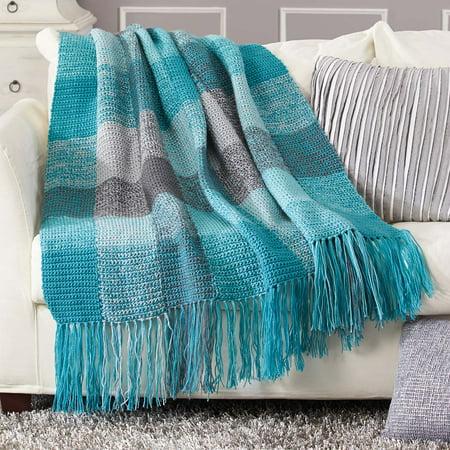 Herrschners® Stormy Skies Plaid Blanket Crochet Afghan Kit