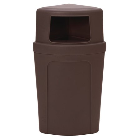 Continental 21 gal Brown Plastic Corner Round? Receptacle With Dome Lid - 21 1/2