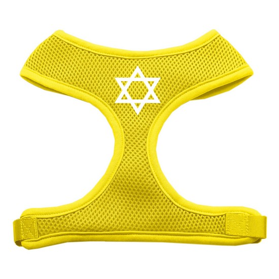 Star of David Screen Print Soft Mesh Harness Yellow Large