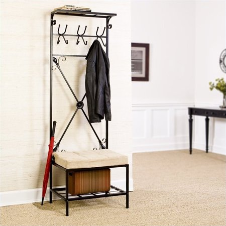 Southern Leon Entryway Storage Rack/Bench Seat in Textured Black