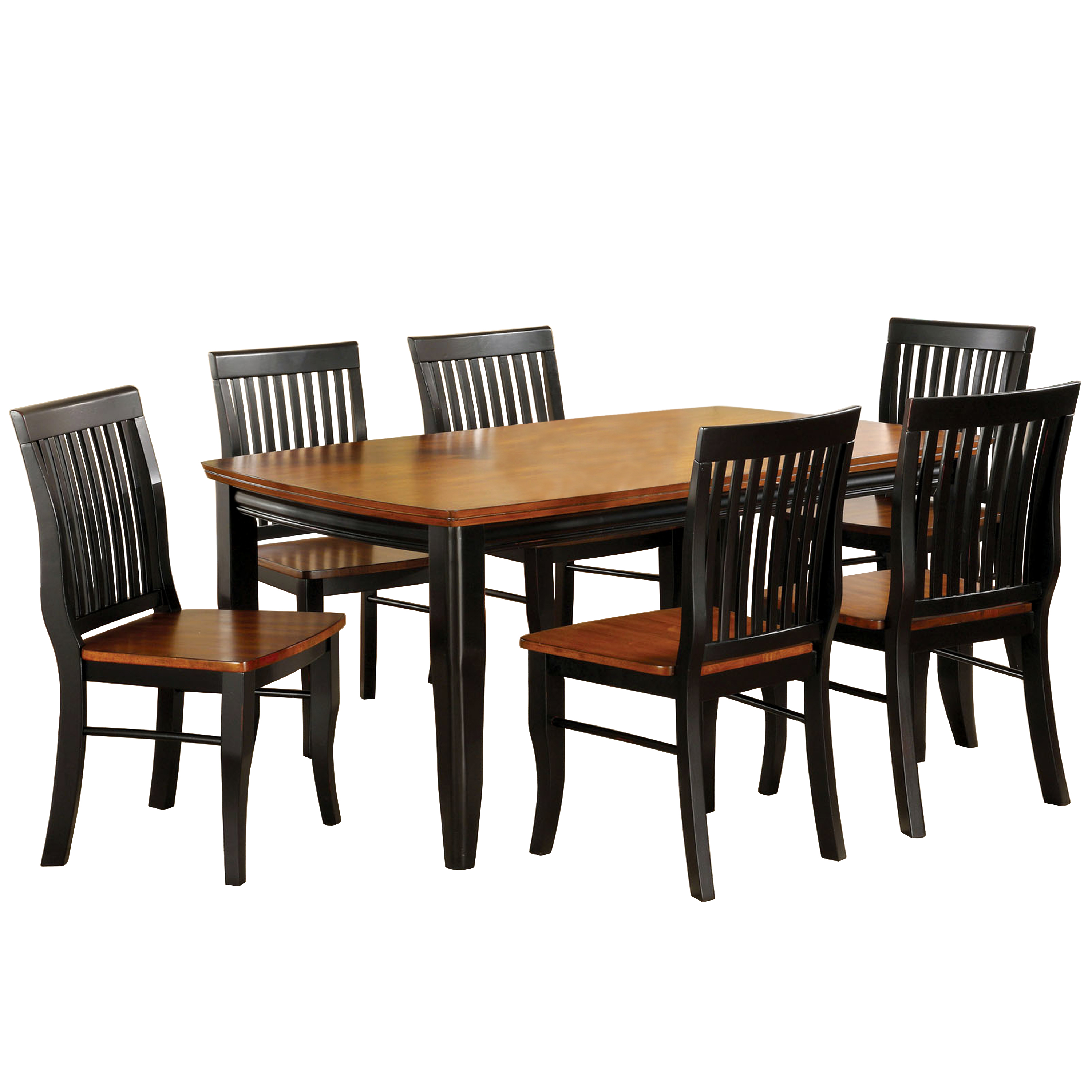 Earlham I 7-Piece Dining Set, Black/Oak