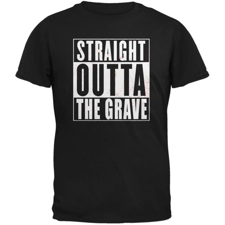 Halloween Straight Outta The Grave Black Adult T-Shirt (Grave Halloween Netflix)