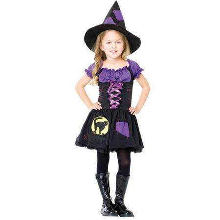 2PC. Girls' Black Cat Witch Costume w/ Dress & Hat