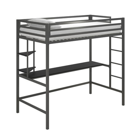 Novogratz Maxwell Metal Twin Loft Bed with Desk & Shelves, Gray with Black Desk