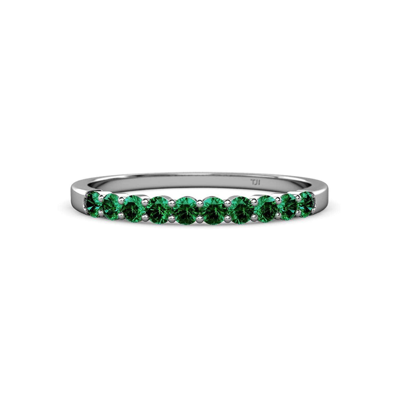 Trijewels Emerald 10 Stone Wedding Band 057 Ct Tw In 14k White Goldsize 85 Walmart: Green Lantern Emerald Wedding Band Set At Websimilar.org