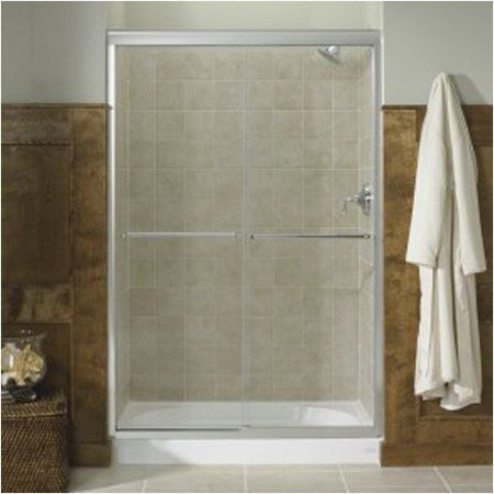 Fluence Frameless Bypass Sliding Shower Door - Glass Type: Falling Lines, Frame Finish: Bright Polished Silver, Size: 59.63u0022 x 70.31u0022
