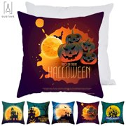 """GustaveDesign Happy Halloween Pillowcase Bat Pumpkin Pillow covers Pooky Halloween Witch, Haunted House Sofa Cushion Cover Zippered Pillowcase Home Decor """"Style D"""""""