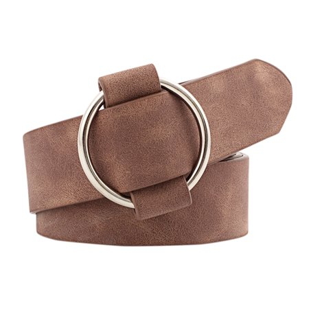 Women Fashion Casual Belts Simple Round Buckle Leather Waistband for Jeans