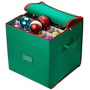 Green Covered Top and Two Handles Storage Box for Holiday Decorations Adjustable Dividers Stores up to 64 Holiday Ornaments YUESUO Christmas Ornament Storage