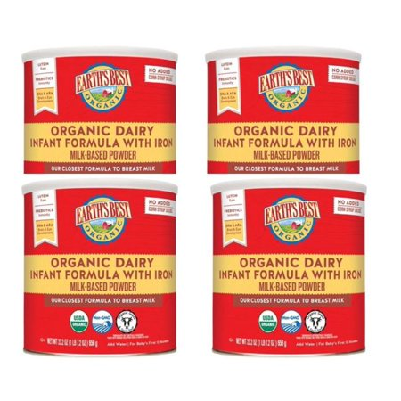 Earths Best Organic Infant Powder Formula (4 Pack) w/ Iron, Omega-3 DHA & Omega-6 ARA, 23.2