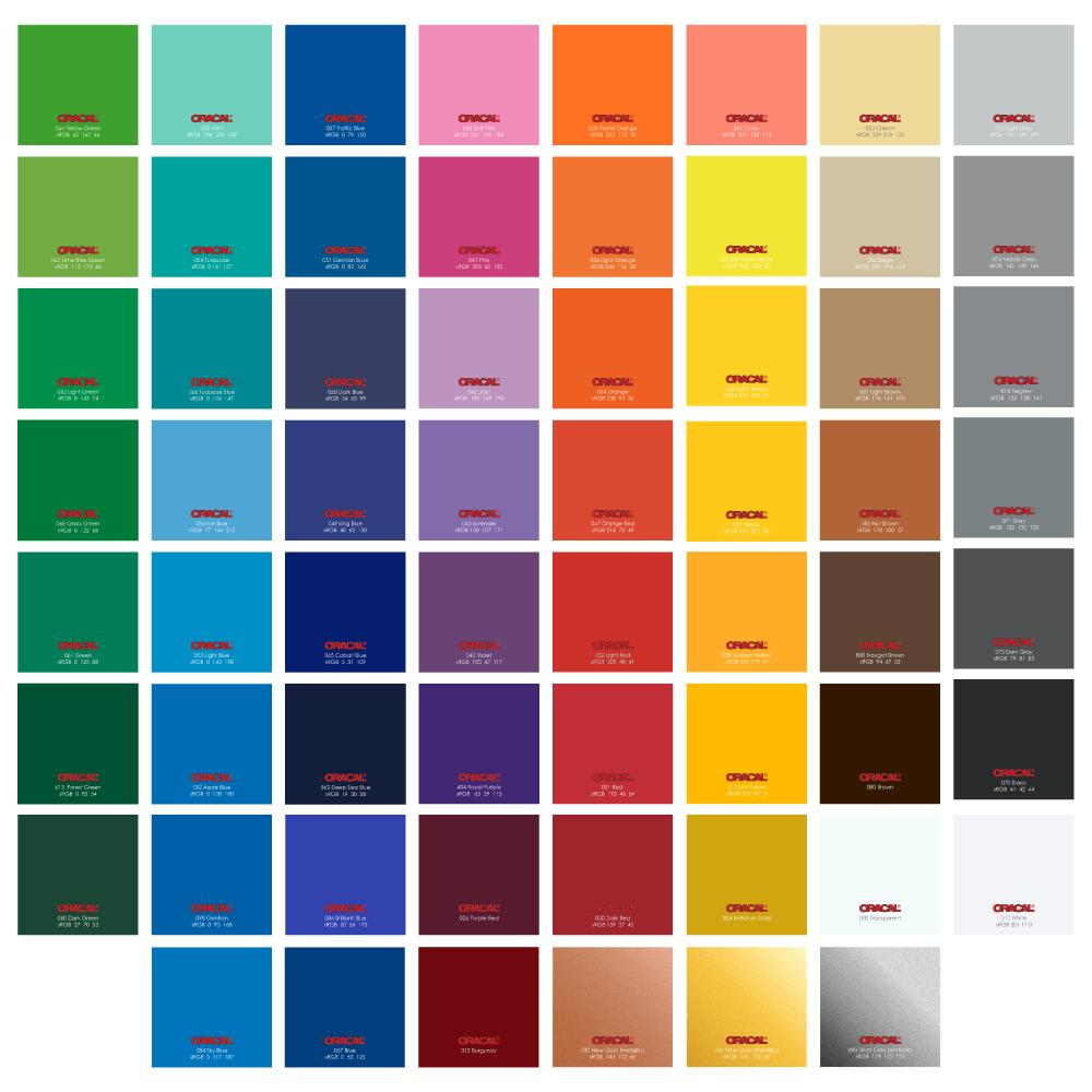 Oracal 651 Glossy Vinyl Sheets 12 Inch x 12 Inch - 62 Assorted Colors Available - Sale!