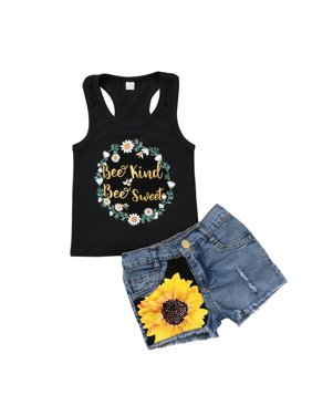 Toddler Kids Baby Girl Sleeveless T-Shirt Top Vest +Sunflower Denim Jeans Shorts Pants Outfits Black 1-2 Years
