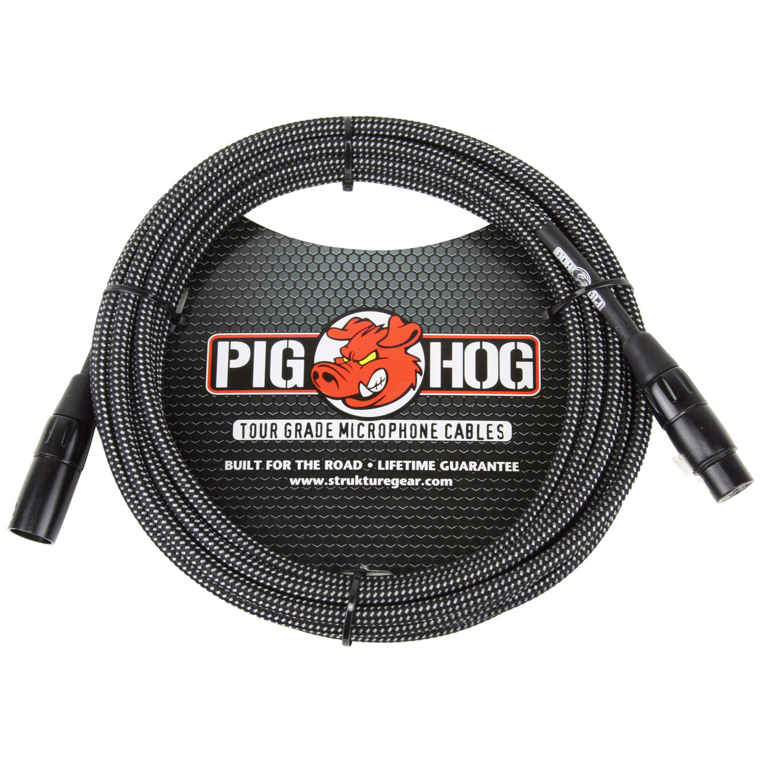 Pig Hog PHM20BKW Black & White Woven Microphone Cable, 20ft XLR
