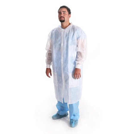 4 Disposable Lab Coat Gowns Medical Dental White SPP 40 Knee Lenght 3 Pocket NEW (Disposable Lab Coat Gown)
