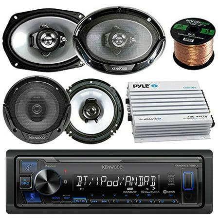 Kenwood Bluetooth AM/FM Radio Car MP3 Receiver Player Bundle with 2 Speakers 6x9 Inch, 2x Speakers 6.5 Inch, 400 Watt Amplifier, 50 Foot Speaker Wire 400 Watt Pa Speaker