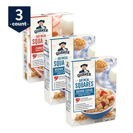 Quaker Oatmeal Squares Breakfast Cereal, Variety Pack, 3