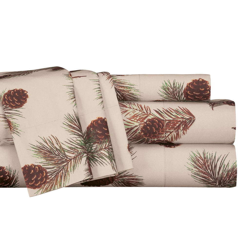 Rustic Pinecone Print Complete Bed Sheet Set, King, Multicolor