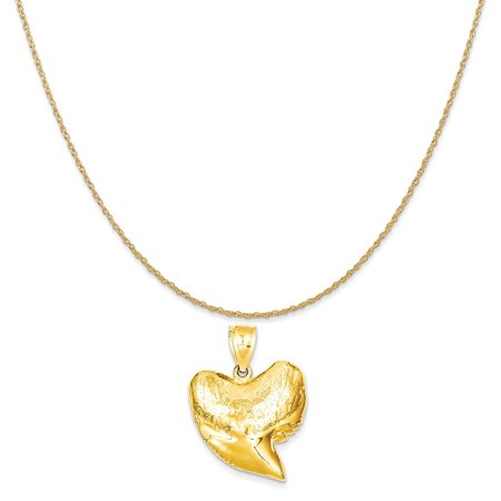 14k Yellow Gold Solid Polished 3-Dimensional Shark Tooth Pendant on a Rope Chain Necklace, 20