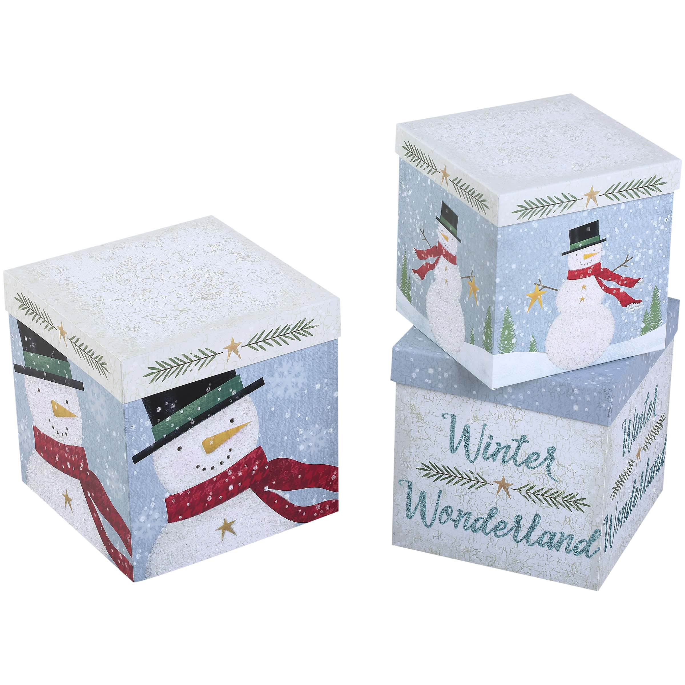 Holiday Time Decorative Gift Box Set, Snowman Theme, 3 Count