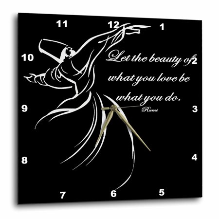 Beauty And The Beast Grandfather Clock (3dRose Let The Beauty Of What You Love Be What You Do - Black Background - Wall Clock, 13 by)