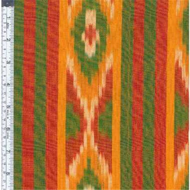 Textile Creations SEM-074 Seminole, Ethnic Stripe Orange & Olive