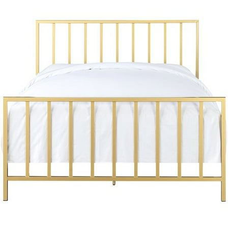 Accentrics Home All-In-One Slat Style Brushed Gold Queen Metal Bed ...