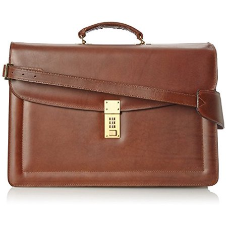 898f84c807fc Belting Triple Gusset Leather Briefcase w/Combination Lock in Brown