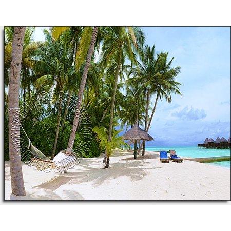 tropical island resort peel stick canvas wall mural. Black Bedroom Furniture Sets. Home Design Ideas