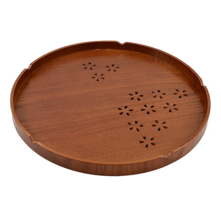 Unique Bargains Tea Coffee Fruit Wood Round Shaped Cherry Hollow-out Design Serving Tray 12''