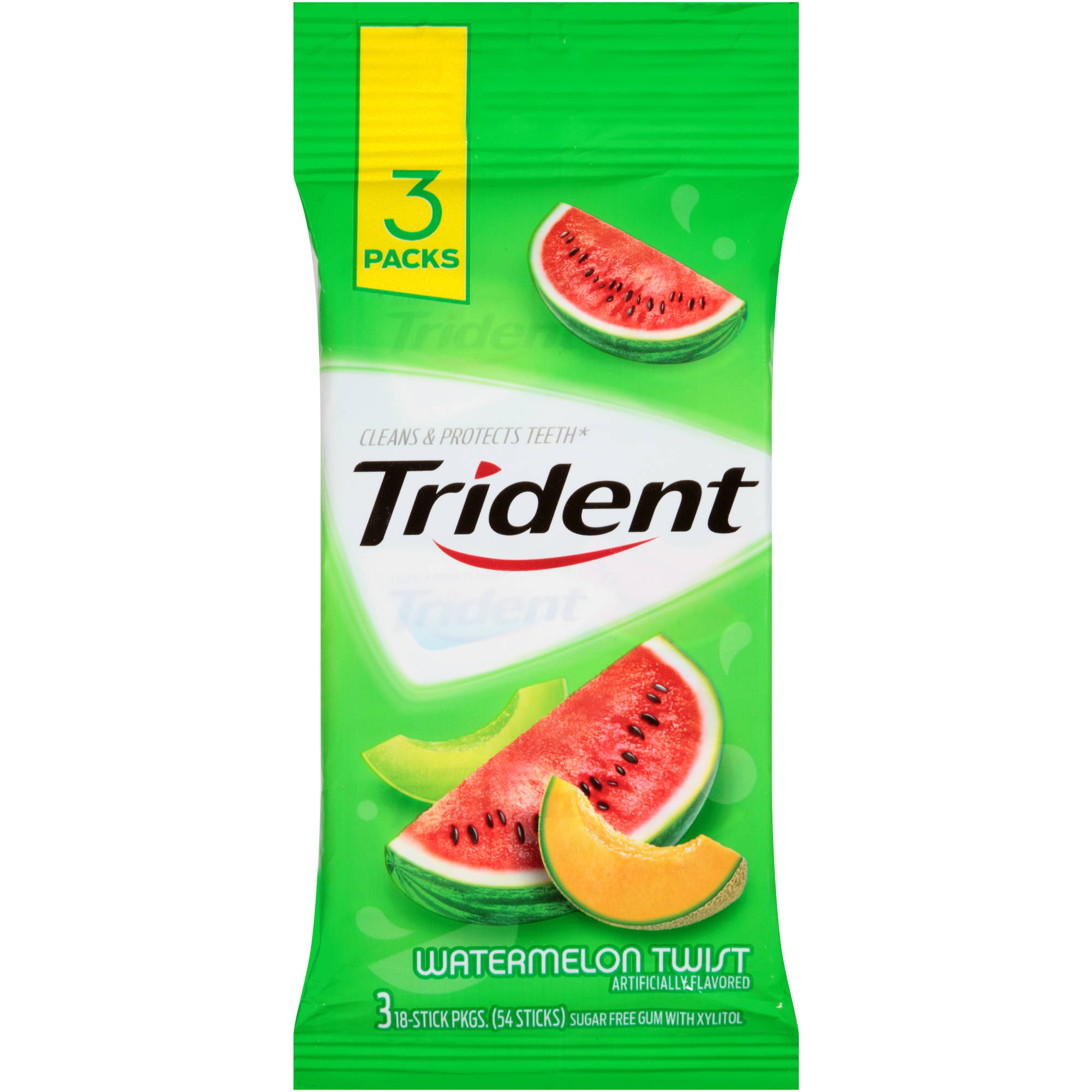 Trident Watermelon Twist Sugar Free Gum with Xylitol, 18 pc, 3 count