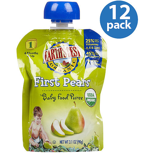 Earth's Best Organic First Pears Baby Food Puree, 3.1 oz, (Pack of 12)