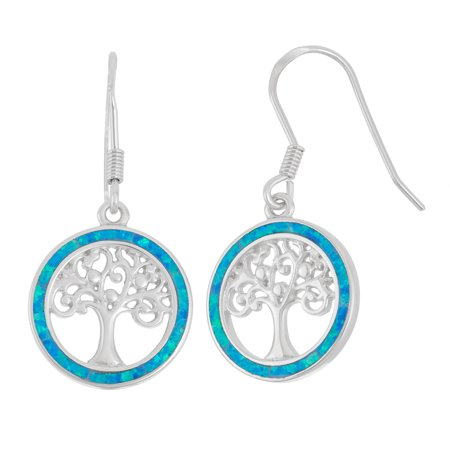 Sterling Silver Blue Opal Tree of Life Circle Dangle Earrings (Multiple colors (Blue Circle Earrings)