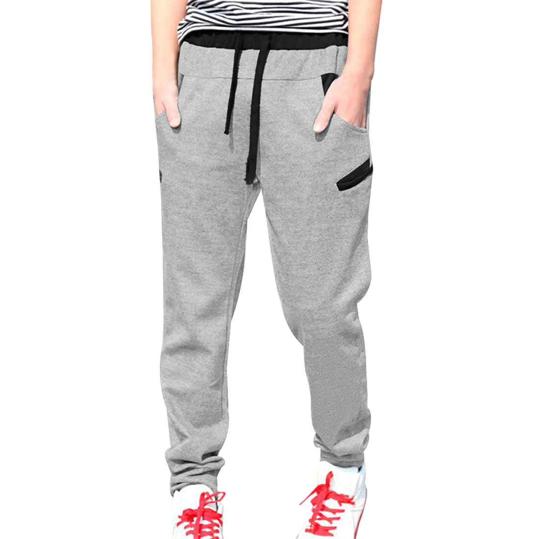 Azzuro Men's Drawstring Sweatpants with Conrast Detail Gray (Size S / W30)