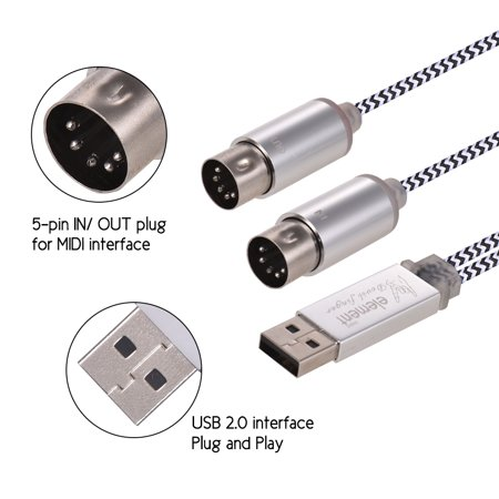 MIDI IN-OUT to USB Cable Cord Aluminum Alloy Plugs for Connecting Electric Piano Keyboard to PC Laptop - image 2 of 4