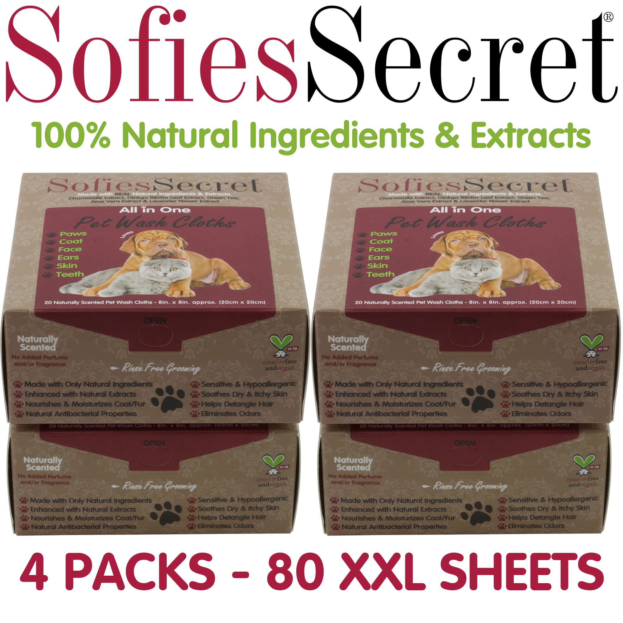 SofiesSecret Pet Wipes Dogs+Cats, 80 sheets, ALL IN ONE, 100% Natural & Organic Extracts, Extra Thick, Ultra Soft, Extra Large,Hypoallergenic, Cruelty Free & Vegan
