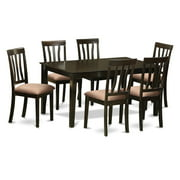 East West Furniture Capri 7 Piece Splat Back Dining Table Set