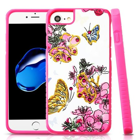 Apple iPhone 7/8 Case, by Insten Flowers Dual Layer [Shock Absorbing] Hybrid Hard Plastic/Soft TPU Rubber Case Cover With Diamond For Apple iPhone 7/8, Hot Pink+ BasAcc MFi Lightning Cable, .3FT White - image 1 of 3