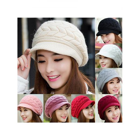 Women's Winter Solid Color Warm Knitted Baggy Beret Beanie Hat Slouch Ski Cap - White Witch Hat