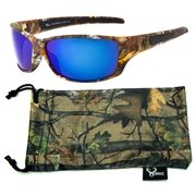 Hornz Brown Forrest Camouflage Polarized Sunglasses for Men Full Frame & Free Matching Microfiber Pouch - Brown Camo Frame - Blue Lens