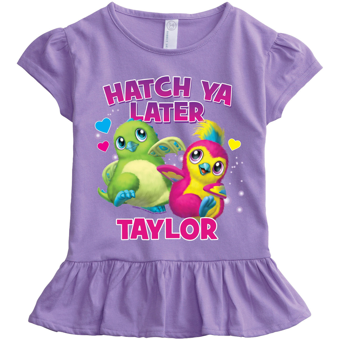 Hatchimals T-Shirt - Personalized Girls Youth Hatch Ya Later Lavender Ruffle Tee - XS, S, M, L