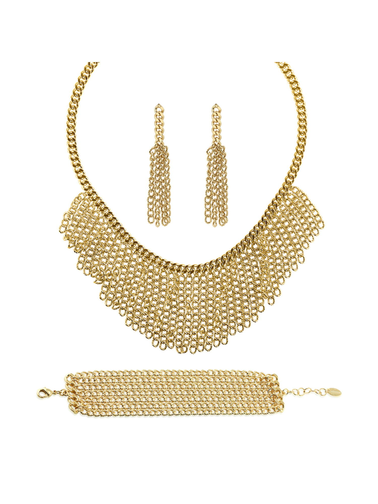 BERRICLE Gold Flashed Base Metal Fringe Fashion Necklace Earrings and Bracelet Set by BERRICLE