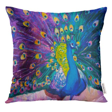 ARHOME Blue Peacock Original Oil Painting on Canvas Lavender Field with Tree Modern Colorful Abstract Pillow Case 18x18 Inches