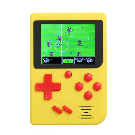 Mini Portable 2.4in LCD 8 bit Handheld Game Player Video Console Built-in 129 Retro Games Yellow ()