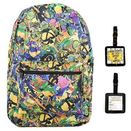 Teenage Mutant Ninja Turtles Retro Toy Clutter Backpack & Luggage Tag - Ninja Turtle Bookbag