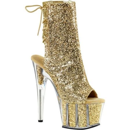 Womens Gold High Heels Glitter Boots Open Toe Platform Booties 7 Inch - Cheap 7 Inch Heels