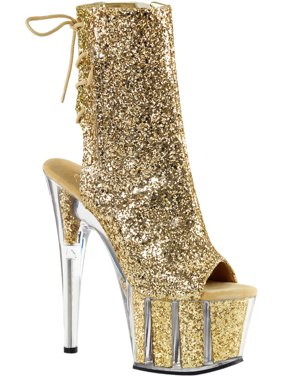 618759ef6d2 Product Image Womens Gold High Heels Glitter Boots Open Toe Platform Booties  7 Inch Heels